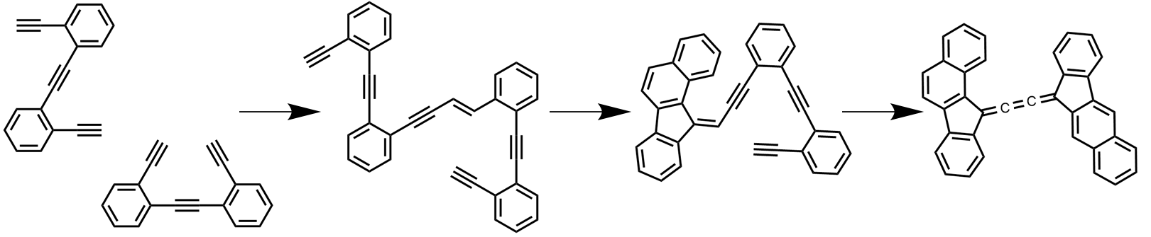 Coupling and cyclization ofsformation of enediyne molecules